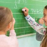 girls practicing math