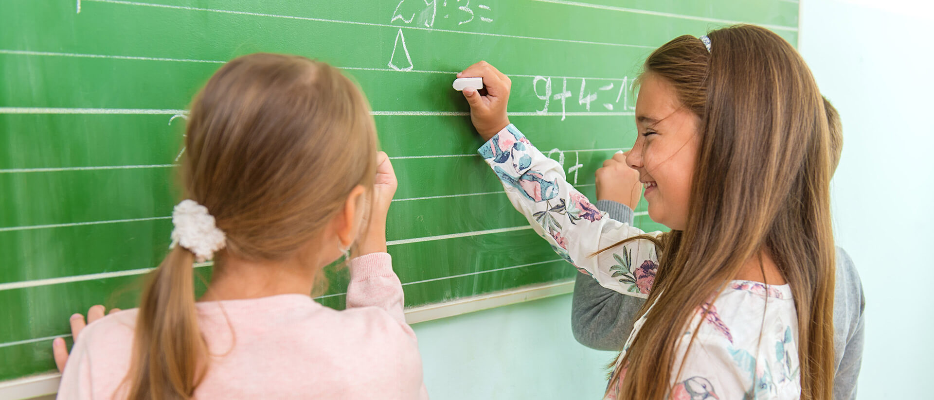 girls practicing math