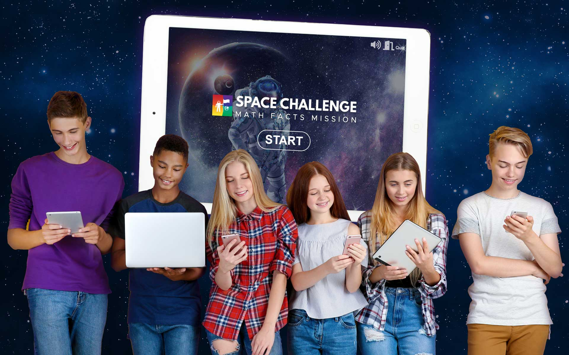 teens playing Space Challenge