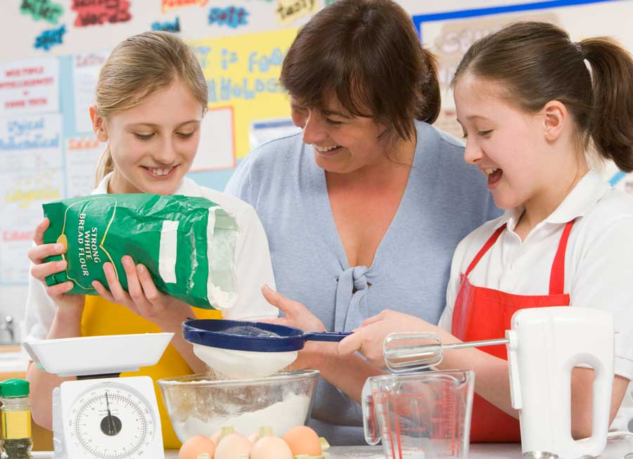 students learning about baking and cooking using math in class