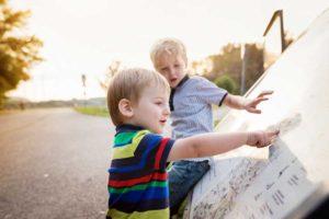 boys looking at map