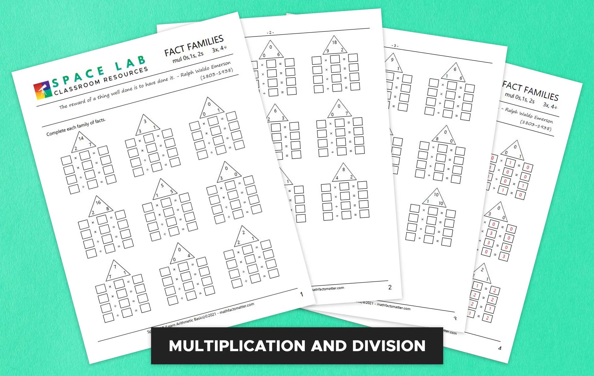 Multiplication and Division Fact Family Worksheets